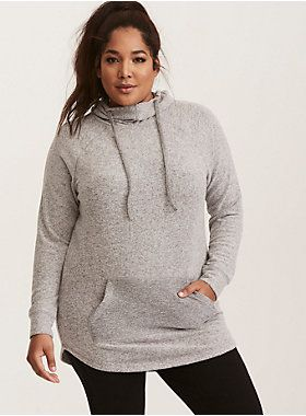 304357f46e2 Grey Brushed Hacci Tunic Hoodie   Clothes   Hoodies, Knitting, Sweaters
