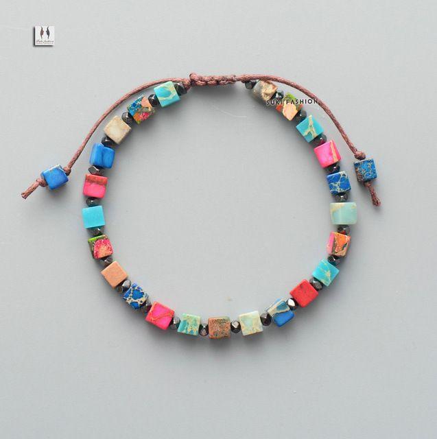 Boho Bead Friendship Bracelet Coloful Natural Stone Adjustable Bracelet for women Beaded Bohemia OL Bracelet Dropship - colorful