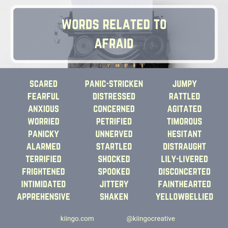 Words Related to Afraid Writing words, Book writing tips