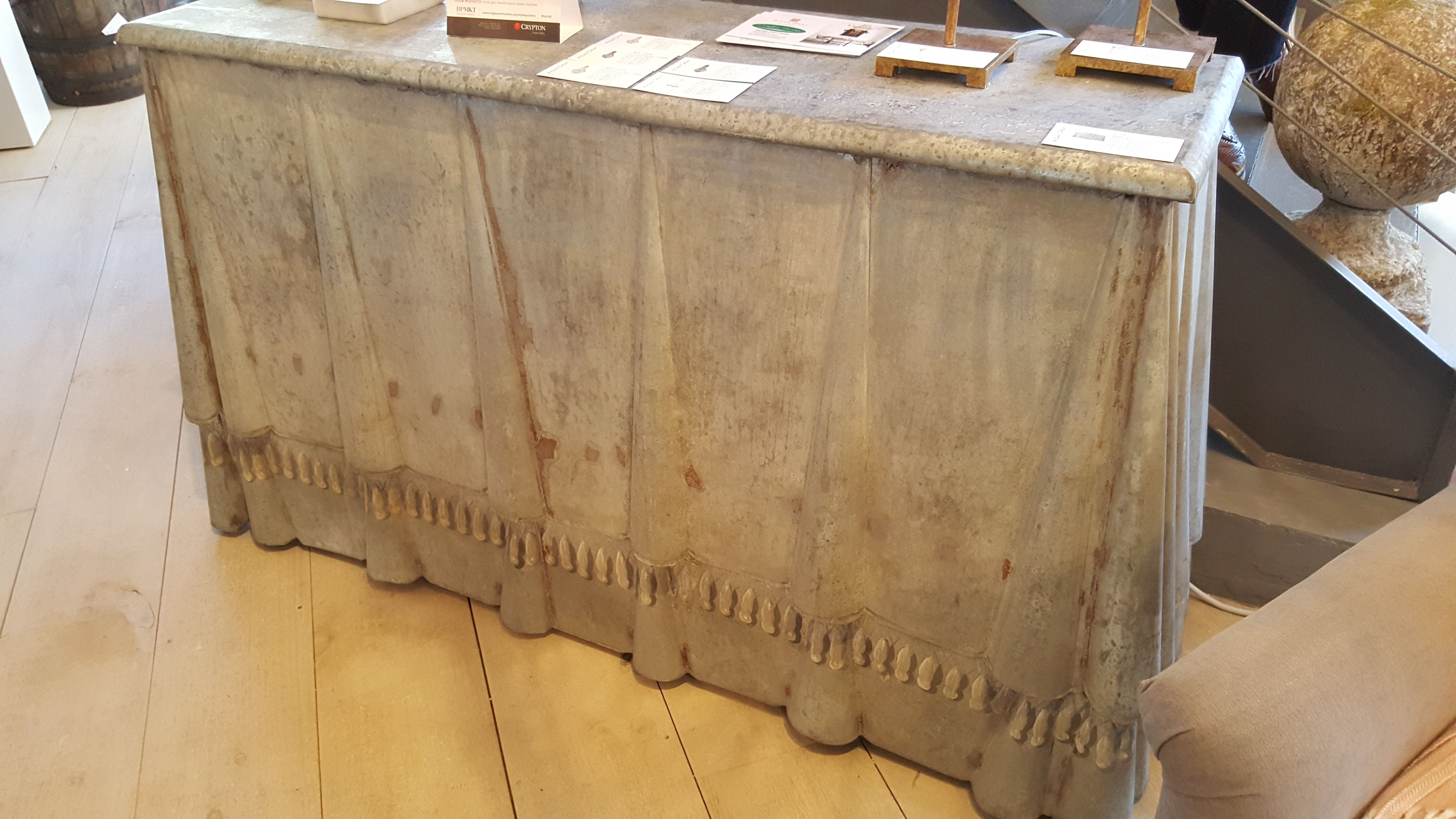 Also from high point market this wonderful zinc linenfold console