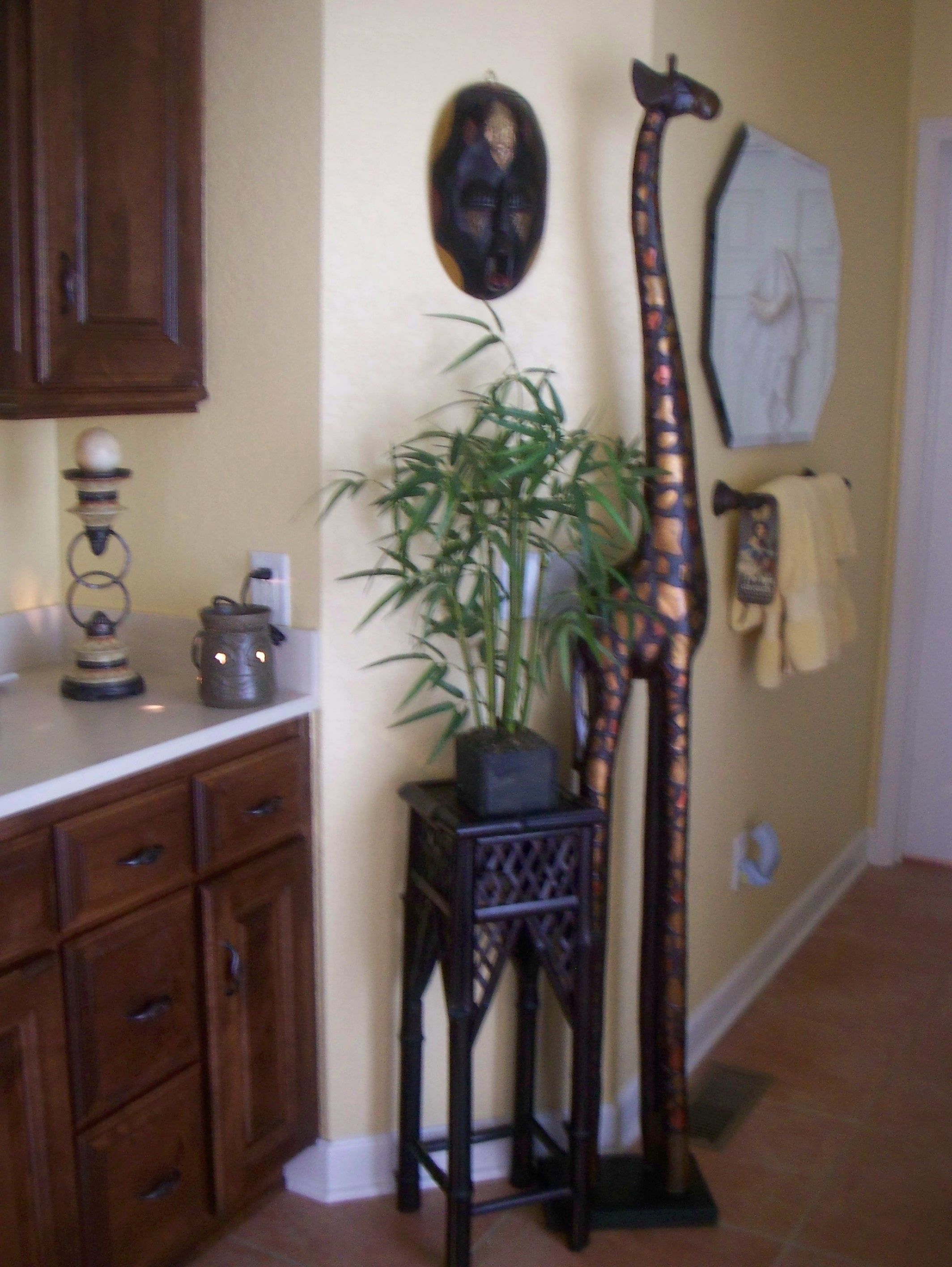 African theme in master bath but most likely living room