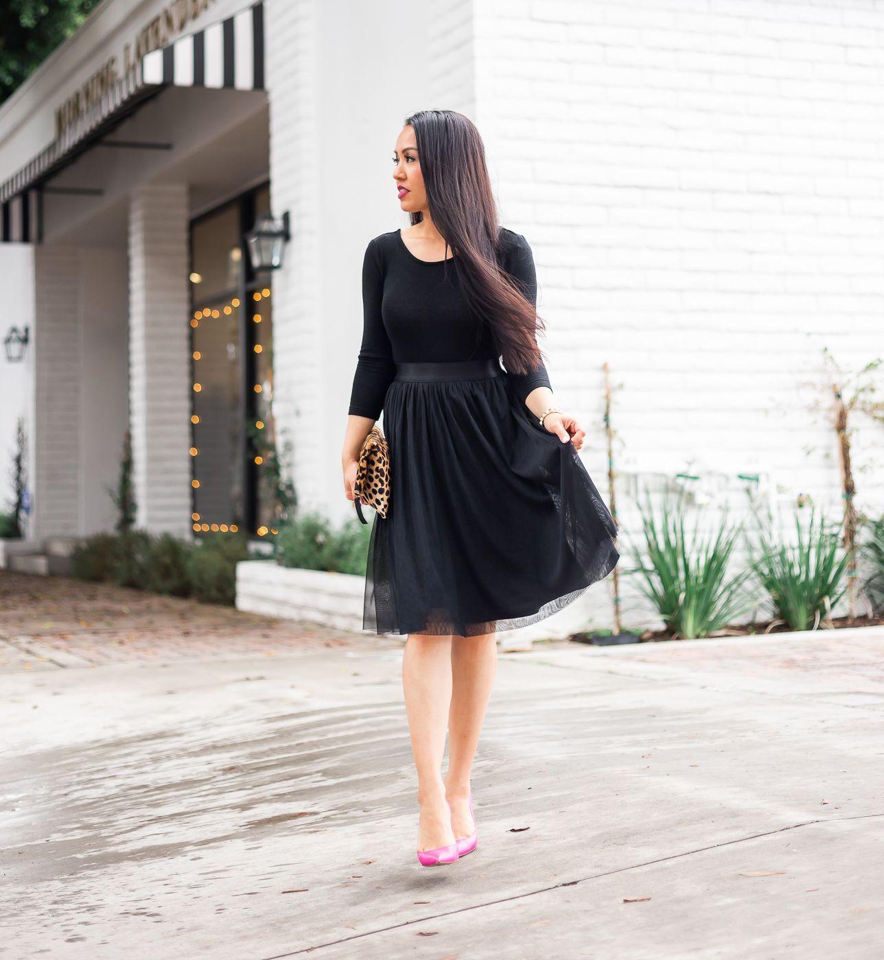 Black Tulle Skirt Dress Leopard Clutch Pink Pumps Stylish Petite Black Tulle Dress Tulle Skirt Black Tulle Skirt Dress [ 1400 x 1288 Pixel ]