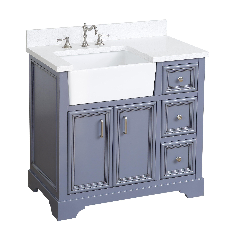 36 inch Adelina Cottage Bathroom Vanity White Marble Top