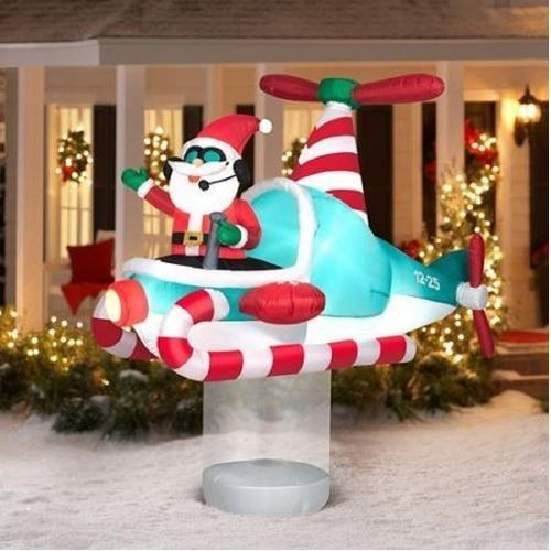 ebay christmas outdoor decor airblown inflatable santa animated helicopter yard 7ft