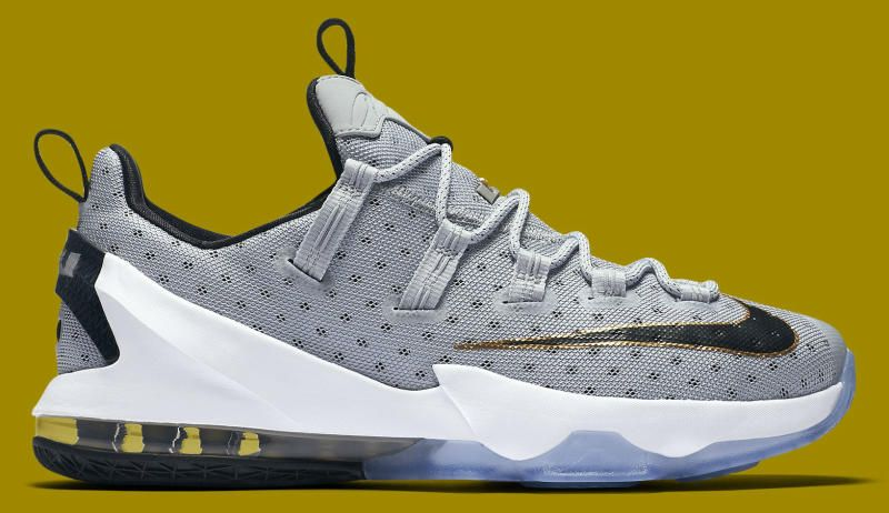 2a021000f84e Nike LeBron 13 Low Color  Cool Grey Metallic Gold-White-Black ...