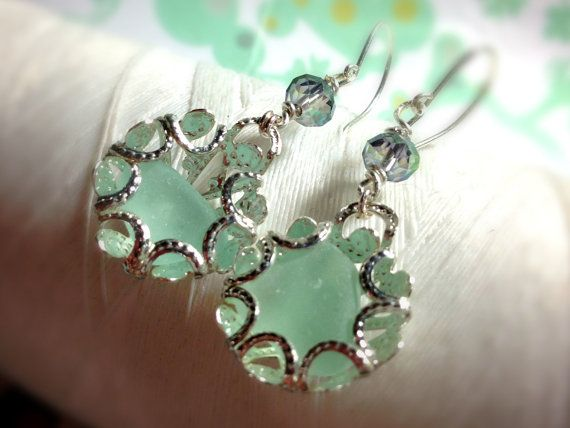 Clam Up   aqua vintage seaglass and sterling silver by GhostShip
