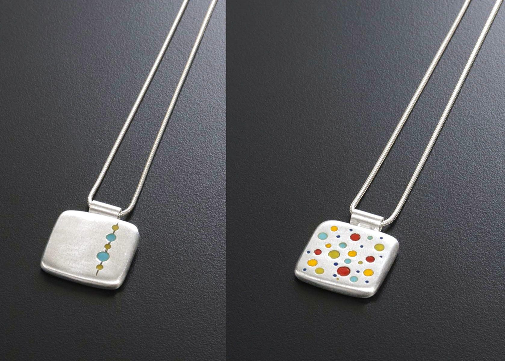 51. Claudia Abderhalden, jeweler. Illustrated are the front and back of a pendant cast from fine silver and kiln-fired glass. www.claudiaAdesigns.com