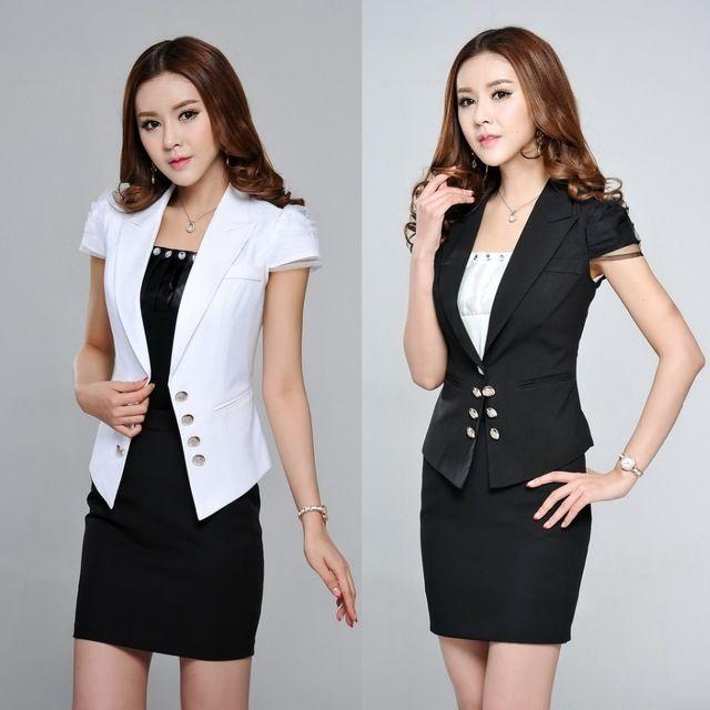 Para mujer formales blanco mujeres abrigos Blazer manga corta chaquetas  Blaser femenino primavera verano oficina de trabajo estilo uniforme ropa 7c428b24a2c9