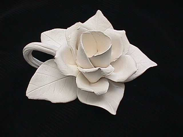 Ceramic Bisque Unpainted Handmade Clay Open Rose Candle