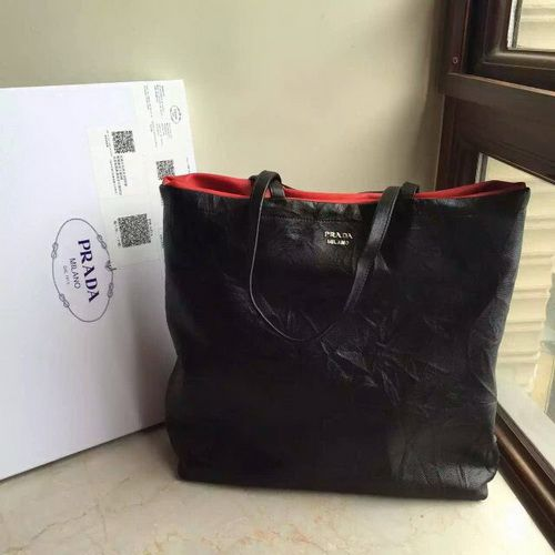 Prada Soft Reversible East-West Tote, Black Red   PRADA SOFT ... a80e3c3503