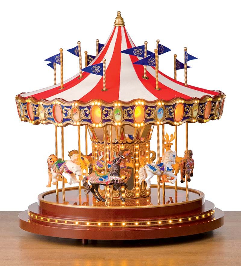 Beau Hand Painted Tabletop Musical Carousel With Lights