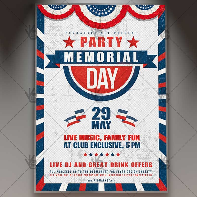 memorial day party premium flyer psd template 4thofjuly american flag flyer