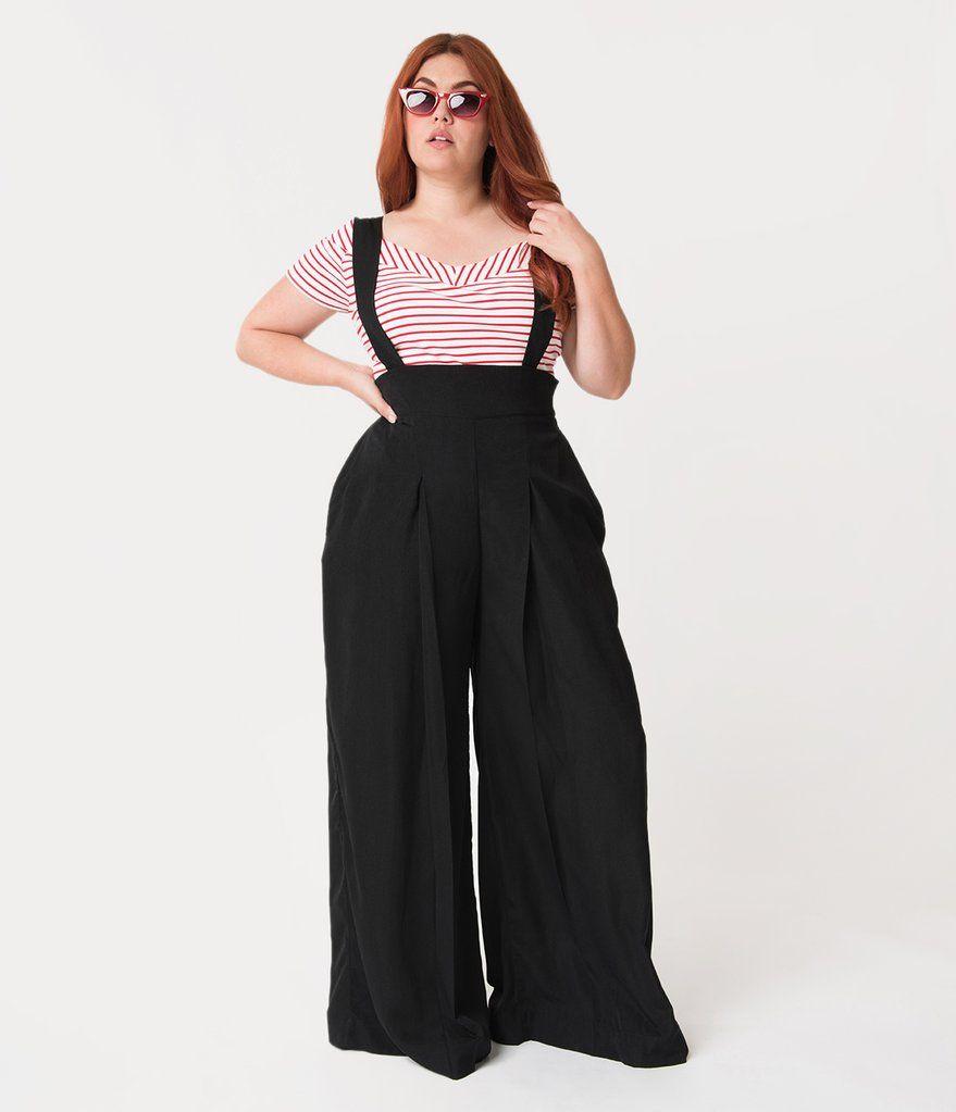 Unique Vintage Plus Size Black High Waist Wide Leg Rochelle Suspender Pants Wide Leg Dress Pants Wide Leg Pants Outfit High Waist Fashion