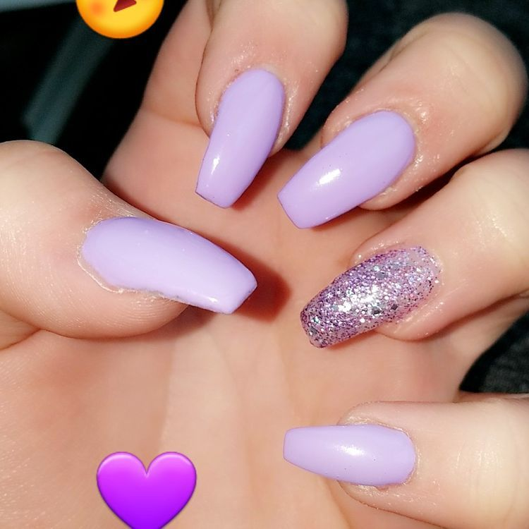 39 Acrylic Coffin Nails Designs 2019 Koees Blog Purple Glitter Nails Purple Acrylic Nails Purple Nail Designs
