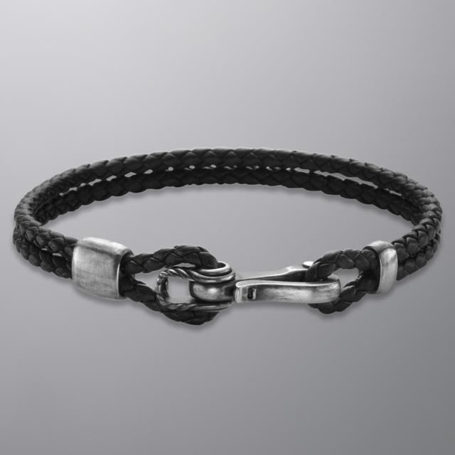 Fancy Maritime Bracelet In Black Leather By David Yurman