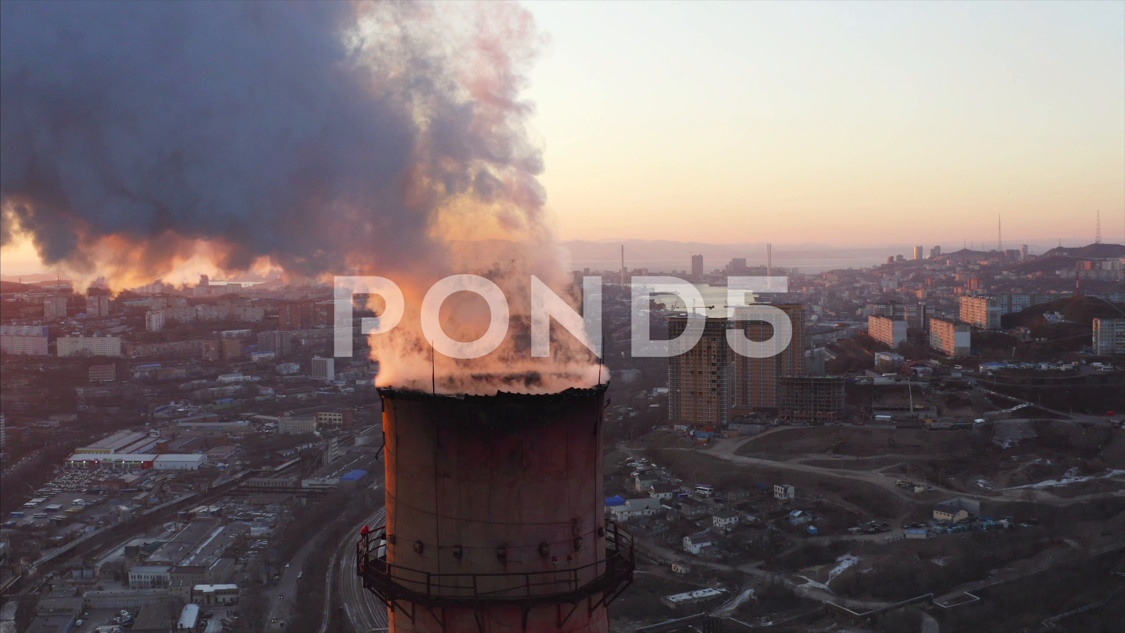 Aerial View Of Central Heating And Power Plant Chimney Bright