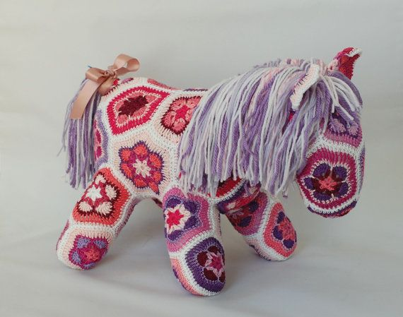 African Flower Crochet Horse Pink and Purple by ZayaLosya on Etsy ...