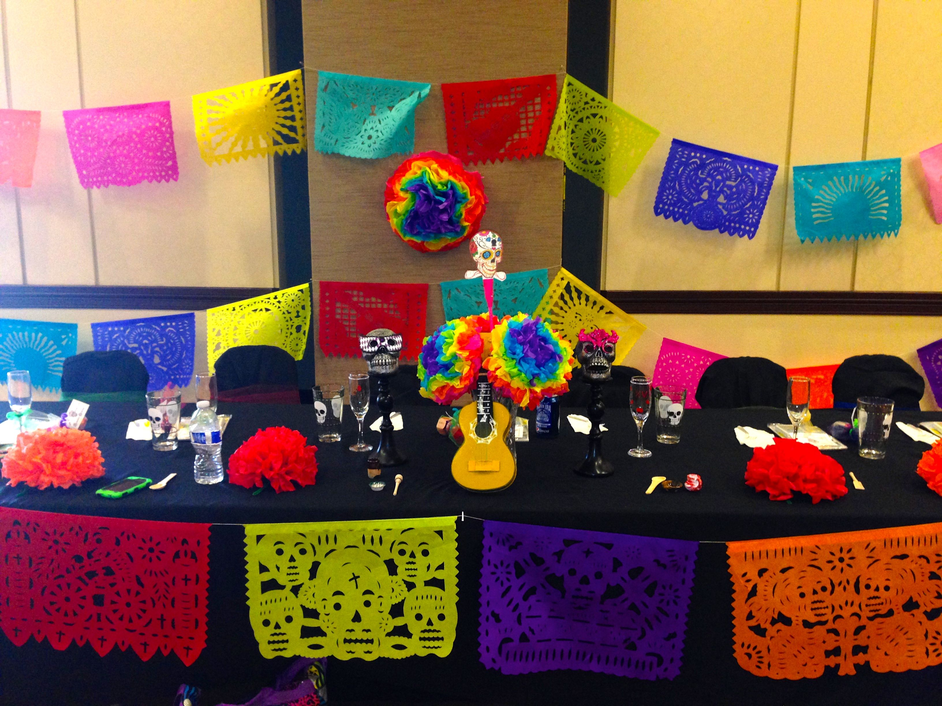 Main table decorations for Dia de los muertos inspired Quinceaera