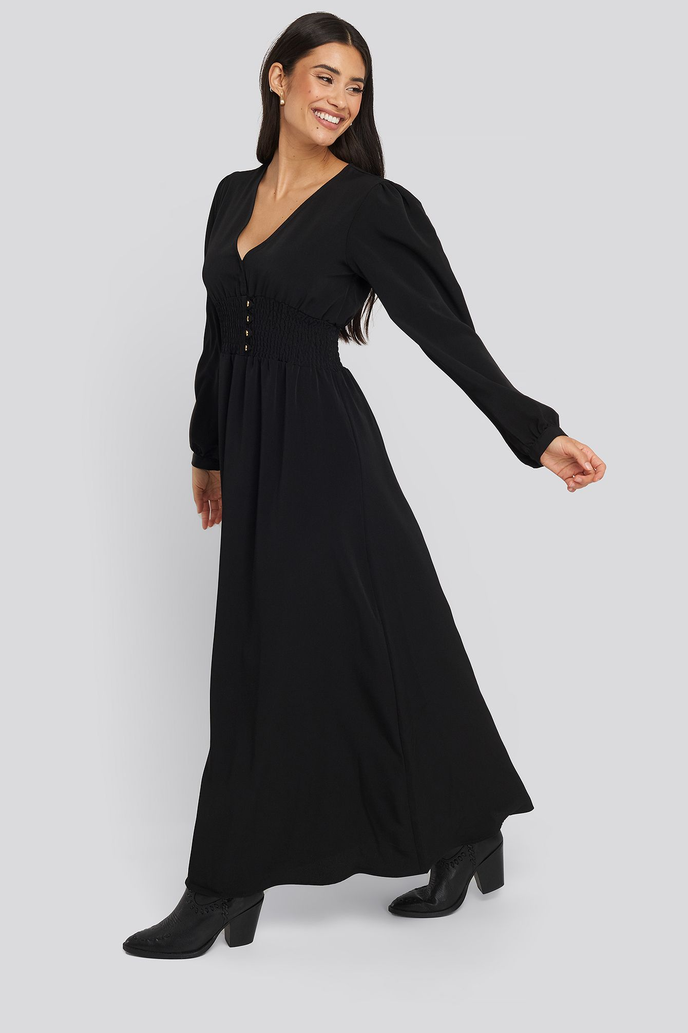 trendyol waist pleated long dress - black | modesens in 2020