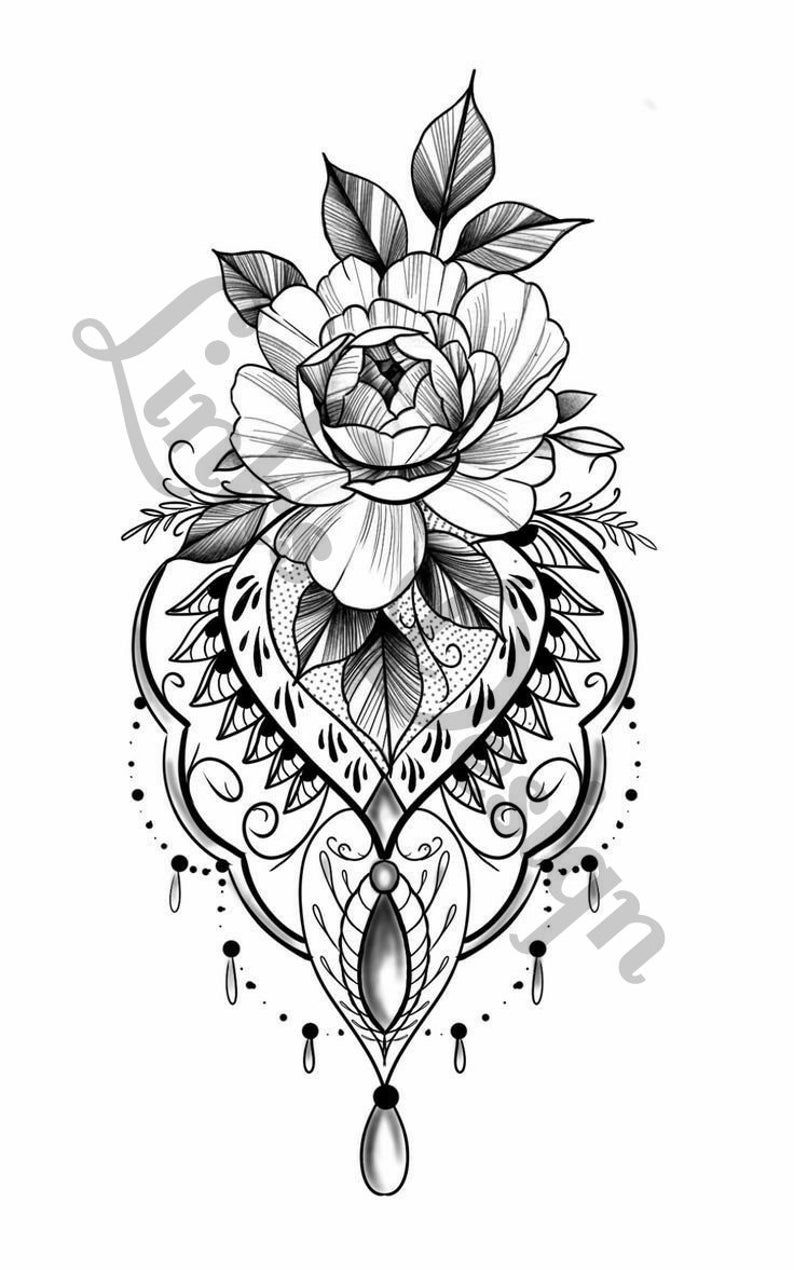 Flower tattoo design waterslide decal for tumblers