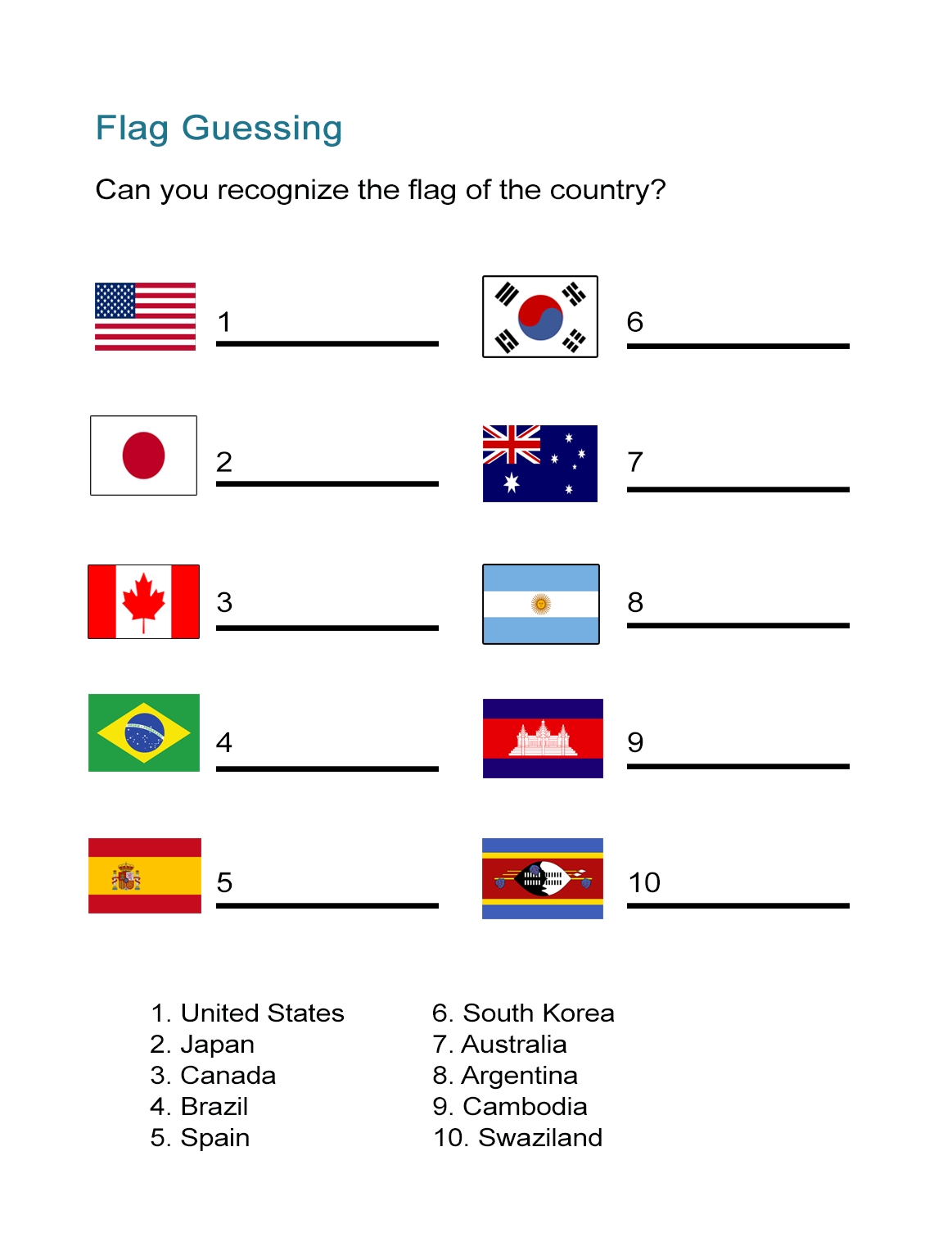 Flag Worksheet Can You Identify The Country Flag