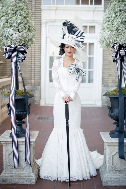 Wedding dress inspired by My Fair Lady I'm not a fan of the big hat or bows, but I LOVE the top half of this dress!! ~ K