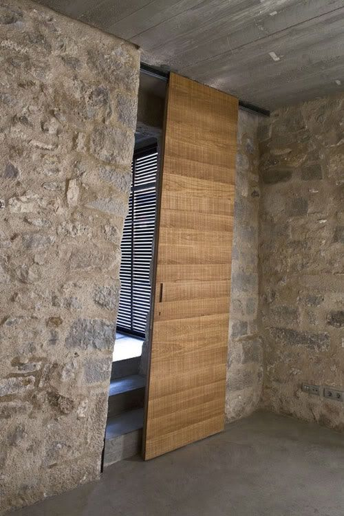 Interesting Barn Door In A Century Home In Girona, Spain Designed By Anna  Noguera Natural Wood Sliding Door