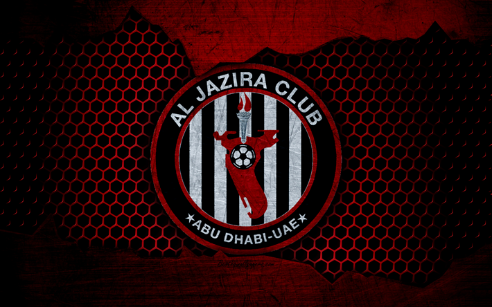 Download wallpapers Al Jazira, 4k, logo, UAE League, soccer, football club, UAE, grunge, metal texture, Al Jazira FC