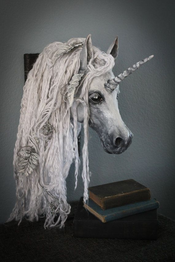 Original White Unicorn Head Wall Mount Sculpture
