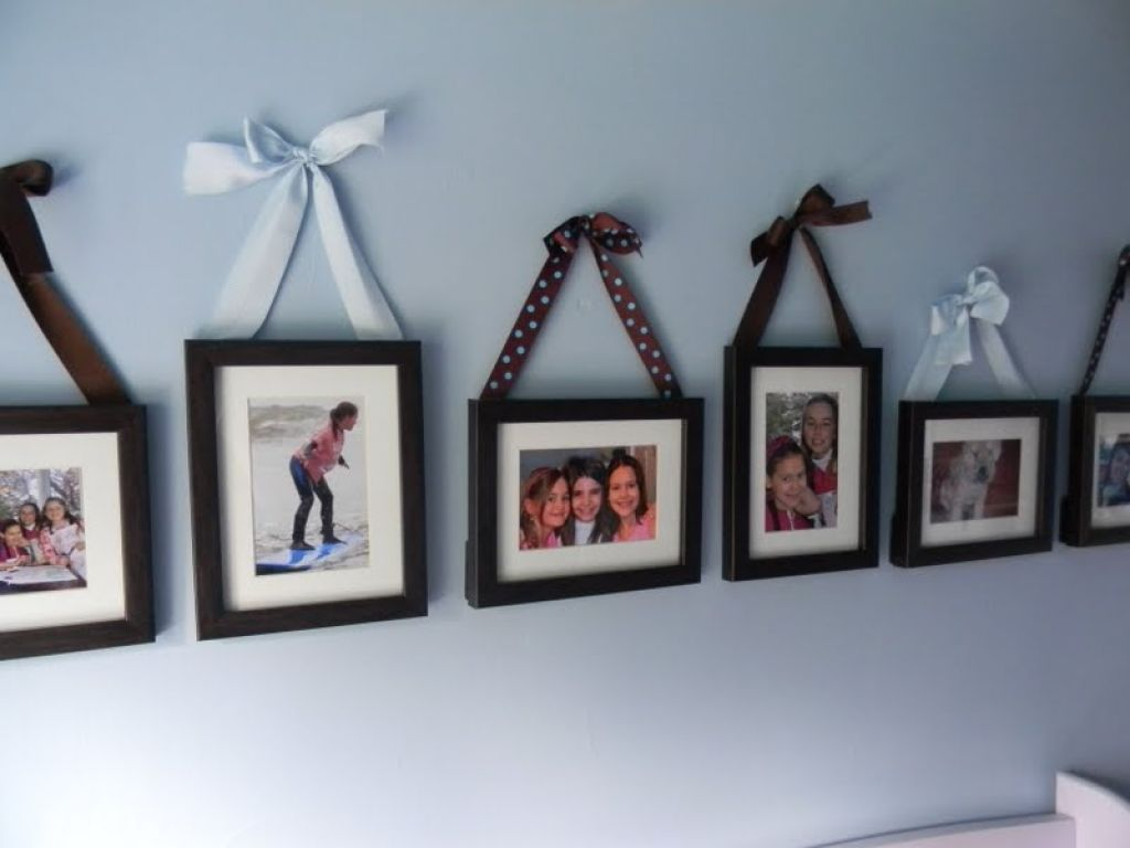 Simple Idea For Decorate Picture Frames With Colored Ribbon For The