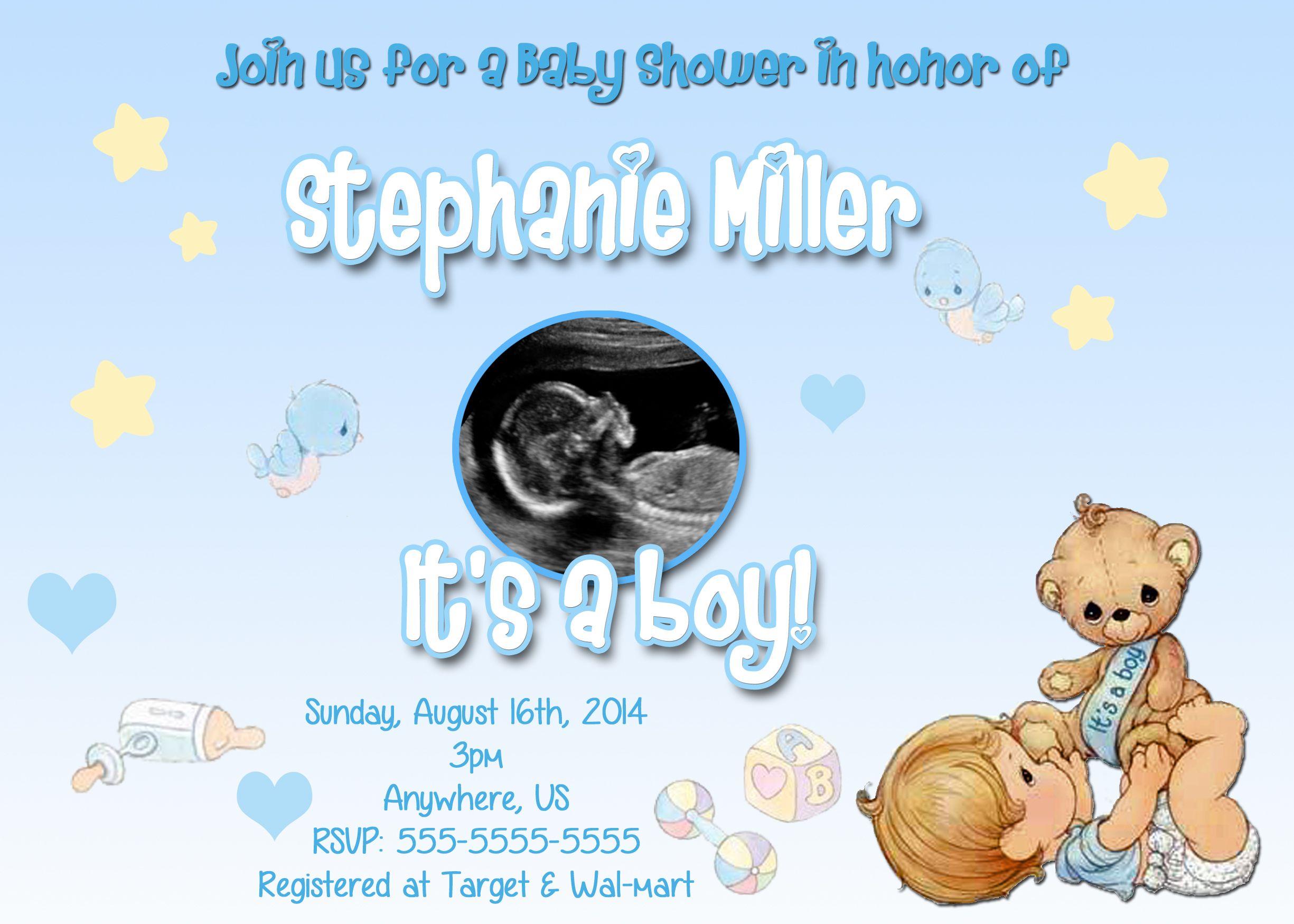 Itu0027s A Boy Precious Moments Baby Shower Invitations $8.99