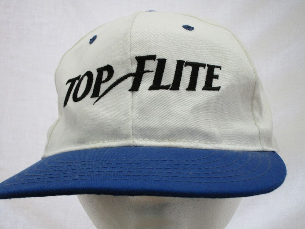 Vintage TOP FLITE Golf Ball Cap Trucker Hat Blue White Adjustable Leather  Strap  TopFlite  BaseballCap e5e7e211780