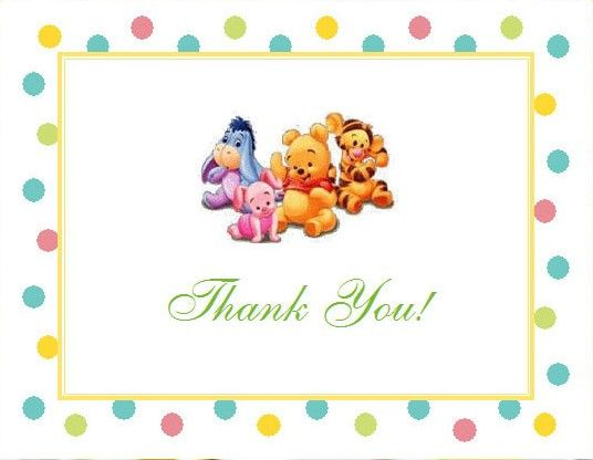Winnie the Baby Pooh and Friends Baby Shower Thank You Cards - baby shower thank you notes