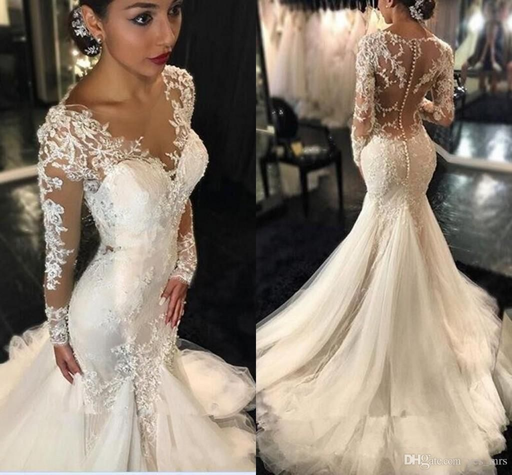 Wedding dresses mermaid style lace  New Mermaid Wedding Dresses  Sexy Long Sleeves Lace Appliques