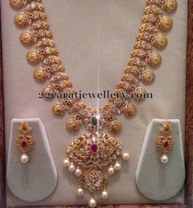 Bridal Diamond Necklace And Haram Set: Pachi Bridal Haram With Hangings