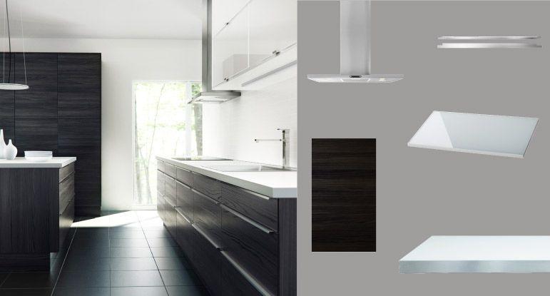 FAKTUM cuisine avec GNOSJÖ portes tiroirs noir motif bois, RUBRIK