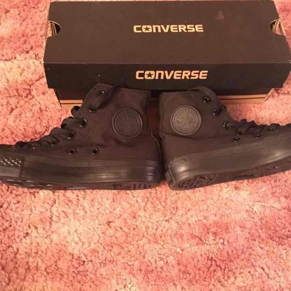 All black converse PERFECT condition and have never been worn before. Willing to trade for some things. Size 3. Converse Shoes Sneakers