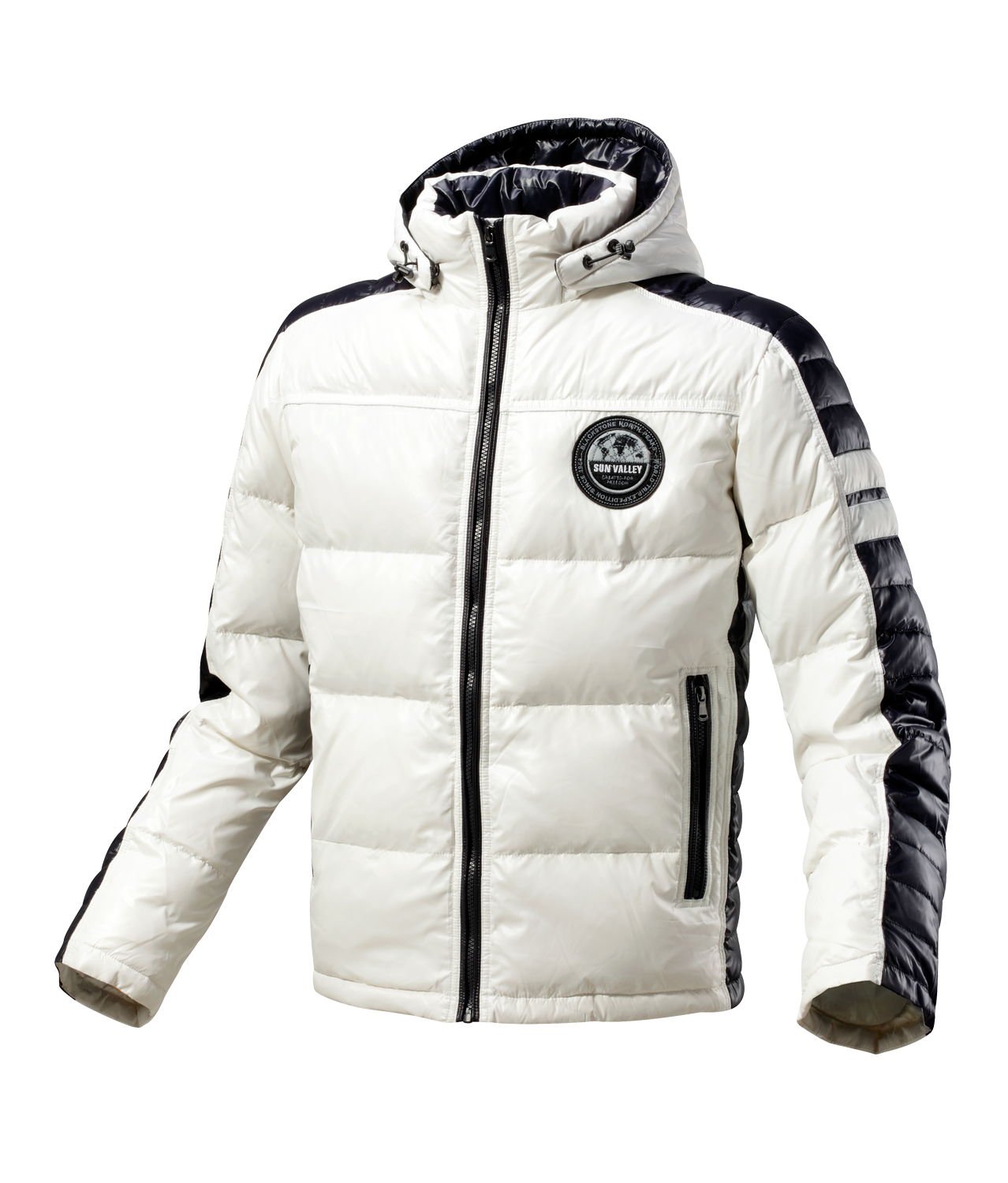 BYCOL - WHITE Down jacket (90% down, 10% feather) with hood ...