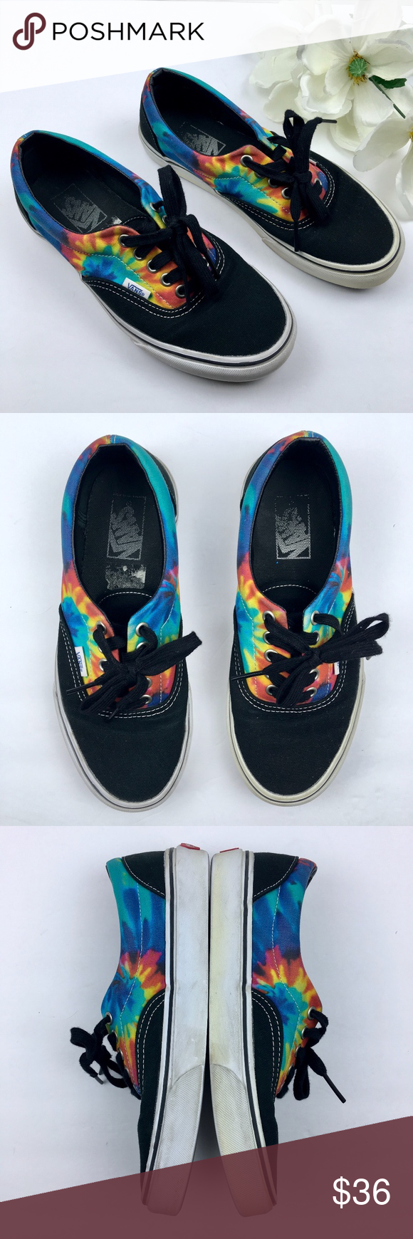 e2268558e7 VANS Black Tie Dye Lo Top Sneakers WMN 8 MEN 6.5 Unisex Vans black w ...