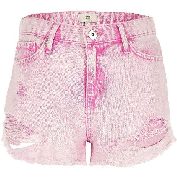 46a7f0e96ab River Island Pink acid wash distressed denim shorts (200 BRL) ❤ liked on  Polyvore