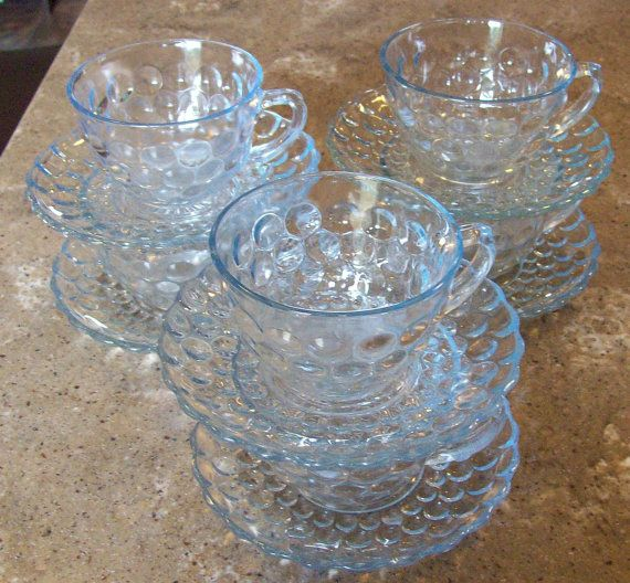 Vintage 12 Piece Fire King Sapphire Blue Bubble Glass Coffee Cup Saucer Set of 6 - love this style of glass! scps