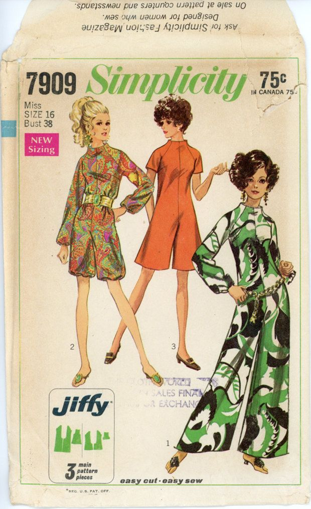 1960s Jumpsuit Pattern Simplicity 7909 Misses Day or Evening ...