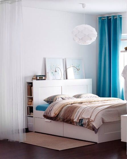 Brimnes bed with storage gy pinterest peque as for Habitaciones pequenas ikea