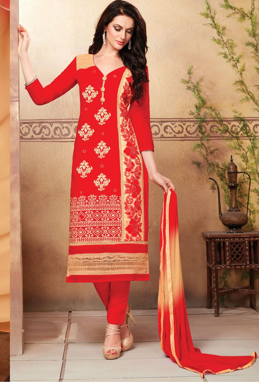 58983a65b2 #Red And #Cream Glace #Cotton #Straight Cut #Suit #nikvik #usa #designer  #australia #canada #freeshipping #suits #pakistani