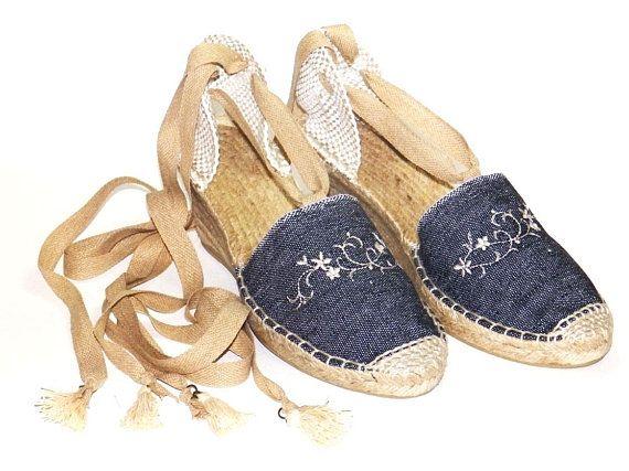 df3e7789b4c High wedge 2.7 inch lace up vegan espadrilles Denim Organic cotton ...