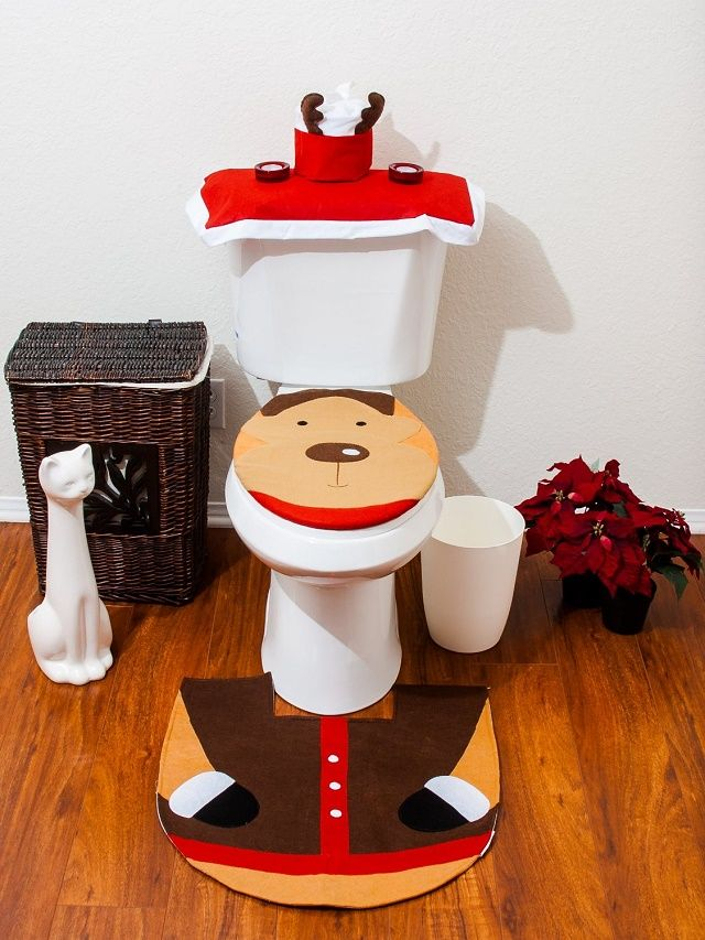 Imperial Home Christmas Bathroom Toiler Cover And Rug Set 4 Pc Reindeer