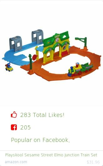 Top christmas gift on Facebook.  Top christmas gift on undefined 283 people likes on Internet. 205 facebook likes. 78 thumbs-up on .undefined sesame street amazon christmas gift. playskool sesame street elmo junction train set from amazon christmas gifts. http://www.MostLikedGifts.com/top-popular-christmas-gifts/amazom-christmas-gift-B00ARQW1DQ-playskool-sesame-street-elmo-junction-train-set