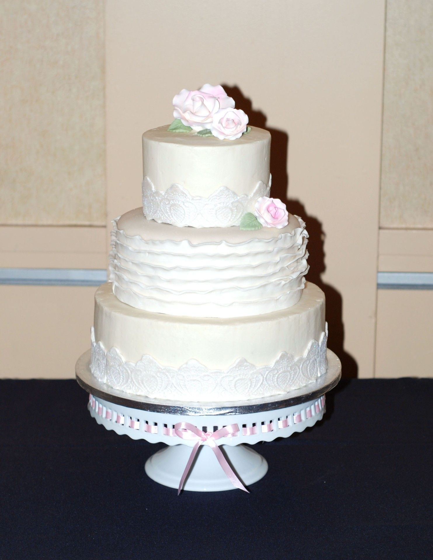 1)Wedding white w strawberry filling and butter cream frosting 2 ...