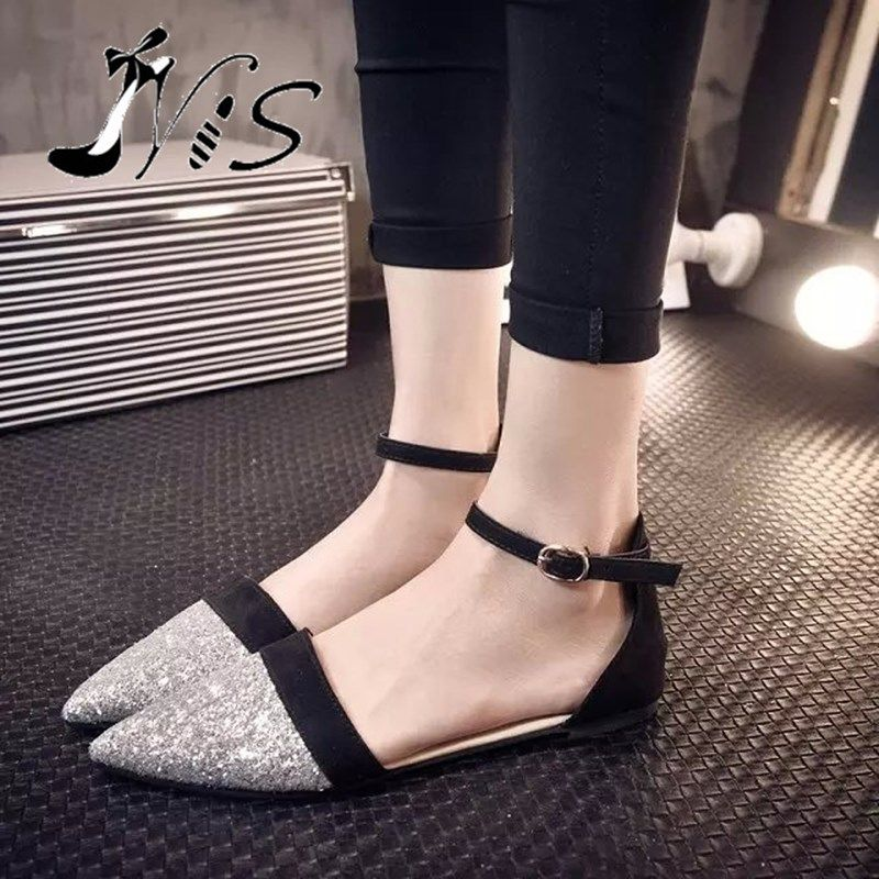 938eee880acb NIS Women Shiny Ballet Flats Femme Pointed Toe Flat Shoes With Ankle Strap  Bride Black Purple Buckle Wedding Shoe Zapatos Mujer