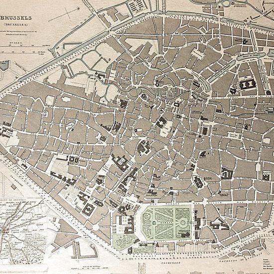 Belgium Topographic Map.19th Century Topographical Vintage Antique Map Brussels Belgium